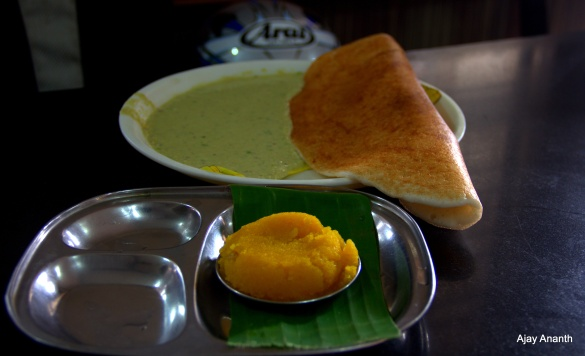 Kesari Bath and Masala Dosa - Gayathri Tiffin Room (GTR) Mysore